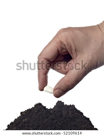 close up of hand seeding new plant in ground on white background with clipping path
