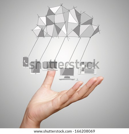 close up of hand showing Cloud Computing diagram on the new computer interface as concept - stock photo
