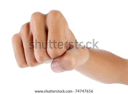 close up of hand showing fist to the camera