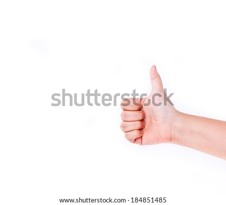 Close up of hand showing thumbs up sign isolated. - stock photo