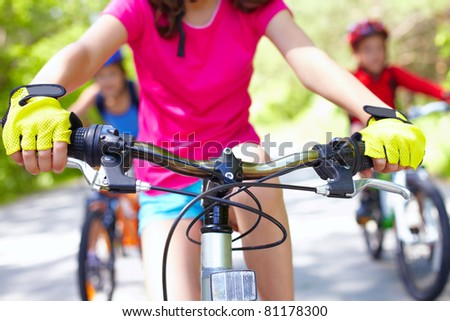 Close-up of handle bar of children?s bicycle - stock photo
