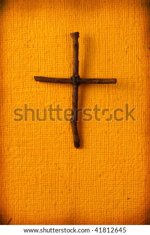 Close up of handmade paper  with holy cross - stock photo