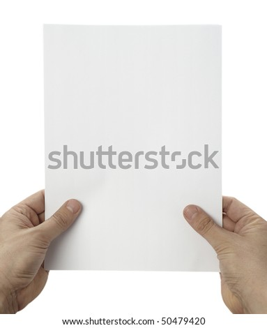 close up of hands holding blank white paper on white background with clipping path - stock photo