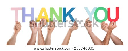 Close-up Of Hands Holding The Word Thank You Isolated Over White Background - stock photo