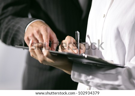 Close Up of hands. Office workers working together - stock photo