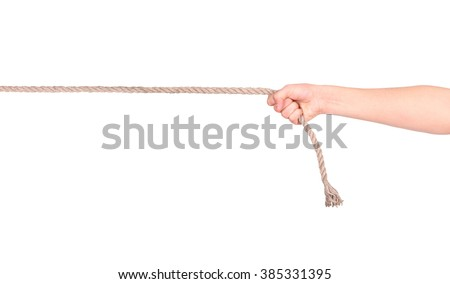 close up of hands pulling a rope on white background with clipping path - stock photo