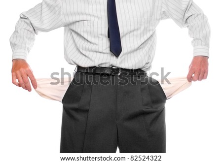Close up of hands with two empty pockets. Crisis metaphor. - stock photo