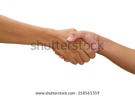 close up of handshake isolate on white with clipping path - stock photo