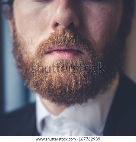 close up of handsome beard hipster elegant man  - stock photo