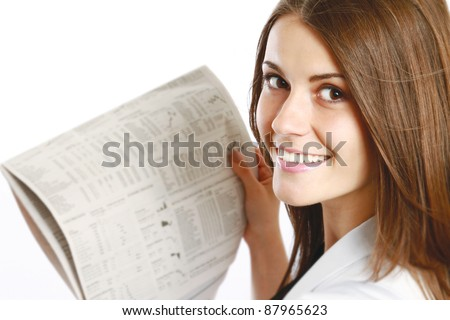Close-up of happy businesswoman with newspaper. View from back isolated on white