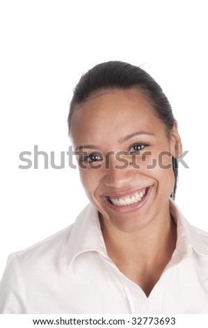 Close-up of happy, smiling beautiful African-American woman, isolated over white