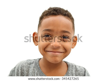Close Up of Happy Smiling Boy with short curly hair isolated on white background - stock photo