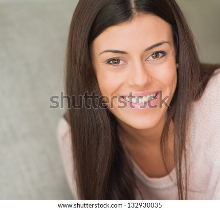 Close-up Of Happy Woman, Indoors - stock photo