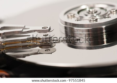 close up of hard disk head