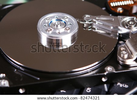 Close up of hard drive disc