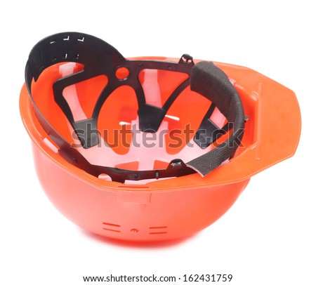 Close up of hard hat. Isolated on a white background. - stock photo