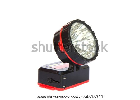 Close up of  head torch on white background. - stock photo