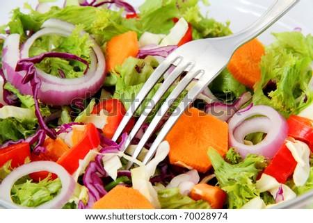 close-up of Healthy Fresh Salad - stock photo