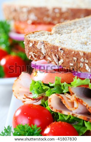 close up of healthy sandwich, narrow focus - stock photo