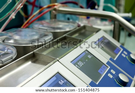 close-up of Heart-Lung machine which takes over the function of the heart - stock photo