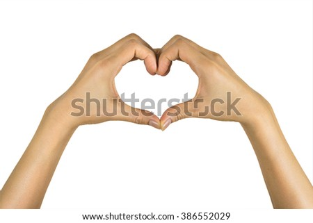 Close up of heart made by women hands isolated on over white bac