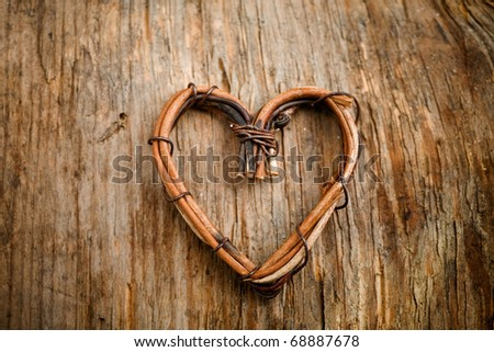 Close up of heart made from willow - stock photo