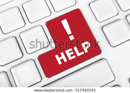 Close up of Help keyboard button - stock photo