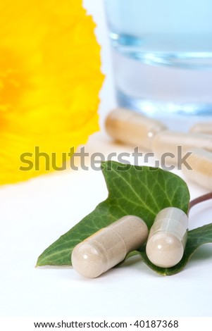 Close-up of herbal supplements capsules on fresh ivy leaf and glass of water. very shallow DOF - stock photo