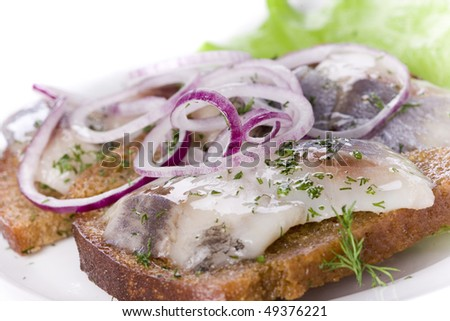 close-up of herring and onion on bread - stock photo