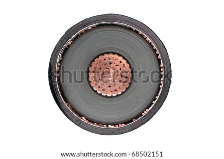 Close-up of high voltage copper cable cross-section. - stock photo