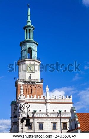 Close up of historic Poznan City Hall located in the middle of a main square, Poland - stock photo