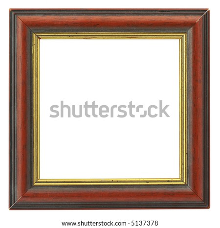 close-up of hollow square frame isolated on pure white background - stock photo