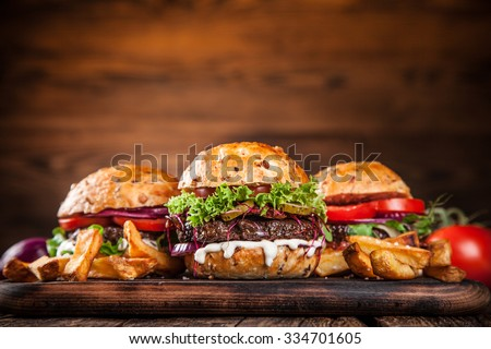 Close-up of home made burgers - stock photo