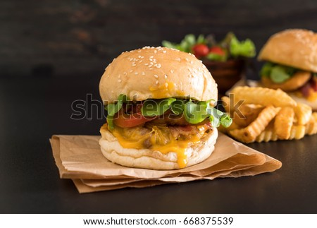 Close-up of home made fresh tasty burger - unhealthy food