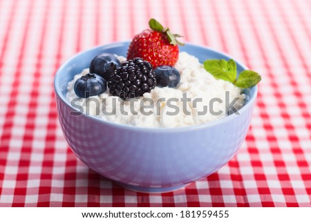 Close-up of homemade cottage cheese with strawberry, blueberries and blackberry, horizontal stock photo - stock photo