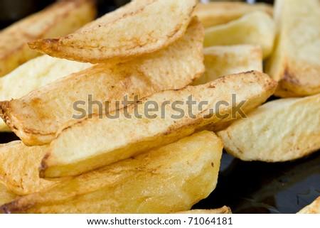 Close up of homemade potato fries - stock photo