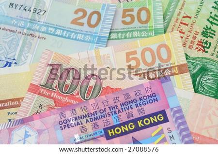 Close up of Hong Kong dollar bank notes - stock photo