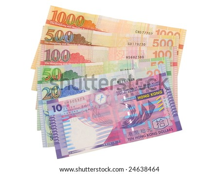 Close up of Hong Kong dollar bills in isolated white - stock photo