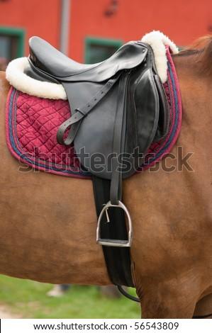 close up of horse saddle - stock photo