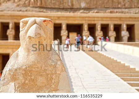 Close-up of Horus statue at Mortuary Temple of Queen Hatshepsut at Deir el Bahri. Luxor, Egypt - stock photo