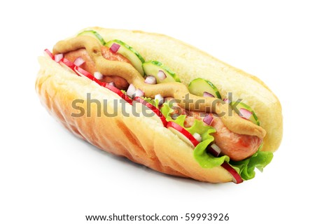 Close up of hot dog. Fast food. Isolated over white background. - stock photo