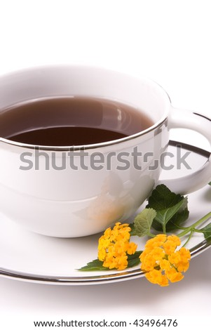 Close up of hot drink in a mug - stock photo