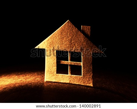 Close up of house cut out of paper. House concept. - stock photo