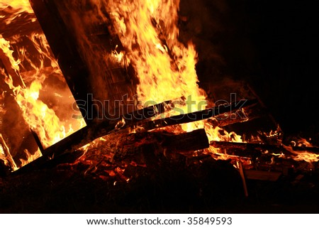 Close-up of house on fire - stock photo