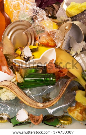 Close-up of household waste and cleaning of bananas, potatoes - stock photo