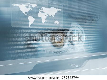 Close up of human eye on digital binary background - stock photo
