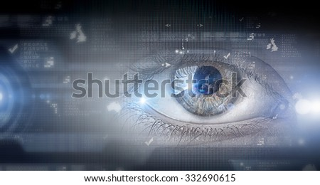 Close up of human eye on digital technology background - stock photo