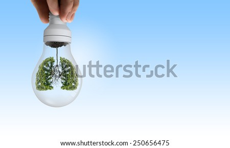 Close up of human hand holding light bulb with tree inside - stock photo