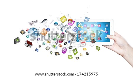 Close up of human hand holding smart phone - stock photo