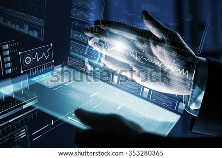 Close up of human hands using virtual panel